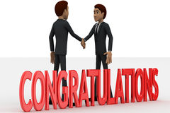3d two men congratulate each other and with congratulation text concept Stock Photo