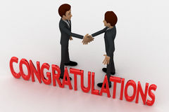 3d two men congratulate each other and with congratulation text concept Stock Images