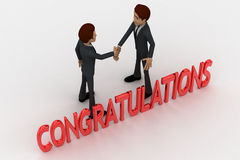 3d two men congratulate each other and with congratulation text concept Royalty Free Stock Images