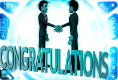 3d two men congratulate each other and with congratulation text illustration Stock Images