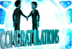 3d two men congratulate each other and with congratulation text illustration Stock Photos