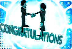 3d two men congratulate each other and with congratulation text illustration Stock Photography