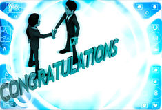 3d two men congratulate each other and with congratulation text illustration Stock Photo