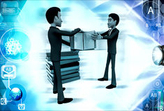 3d two men fighting for book illustration Royalty Free Stock Photo