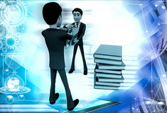 3d two men fighting for book illustration Stock Photos