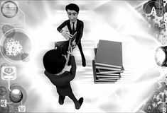 3d two men fighting for book illustration Stock Images