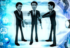 3d two men guard stoping another man from entering illustration Royalty Free Stock Image
