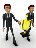 3d two men holding golden award cup in hand concept Royalty Free Stock Photo