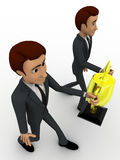 3d two men holding golden award cup in hand concept Stock Images