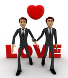 3d two men with love text and heart and holding hands concept Royalty Free Stock Photos