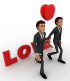 3d two men with love text and heart and holding hands concept Stock Image