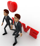 3d two men with love text and heart and holding hands concept Royalty Free Stock Images