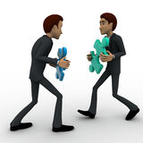 3d two men with puzle piece connect concept Royalty Free Stock Photography