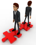 3d two men stand on red puzzle piece on opposite side concept Royalty Free Stock Images