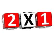 3D Two For One Button Click Here Block Text Royalty Free Stock Photo
