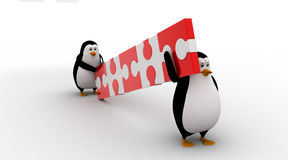 3d two penguin carry connceted puzzle pieces concept Stock Images