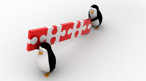 3d two penguin carry connceted puzzle pieces concept Royalty Free Stock Photo