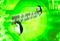 3d two penguin carry connceted puzzle pieces illustration Stock Image
