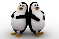 3d two penguin friend leaning on each other concept Stock Photos