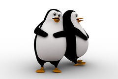 3d two penguin friend leaning on each other concept Royalty Free Stock Image