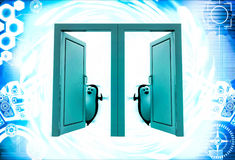 3d two penguin open two doors to welcome in illustration Stock Images