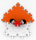 3d two penguin solve puzzle concepts Royalty Free Stock Photos