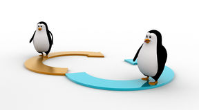 3d two penguin standing on two half circular arrow concept Stock Images