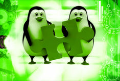 3d two penguins holding red jigsaw puzzle piece illustration Royalty Free Stock Photography