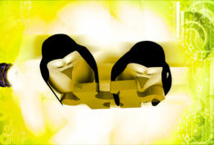 3d two penguins holding red jigsaw puzzle piece illustration Royalty Free Stock Photos