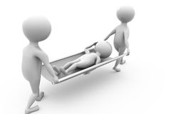 3d Two people carrying the patient concept Stock Photography