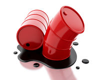 3d Two red barrels with oil spilled. Royalty Free Stock Image