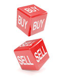 3d Two red dice, buy and sell Stock Images