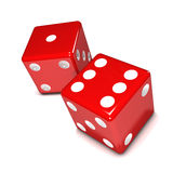 3d Two red dice Stock Photos
