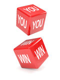 3d Two red dice, You Win Royalty Free Stock Images