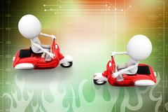 3d two scooters crossing illustration Royalty Free Stock Photography