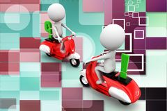 3d two scooters crossing with think and question mark sign illustration Royalty Free Stock Image