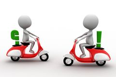 3d two scooters crossing with think and question mark sign Stock Photography