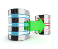 3d two servers with arrow isolated over white background Stock Photography