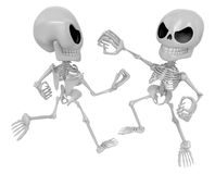 3D Two Skeleton Mascot is a fist fighting. 3D Skull Character De Royalty Free Stock Images