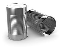 3d Two tin cans. 3d render of two tin cans Royalty Free Stock Photo