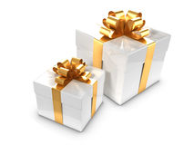3d Two white and gold gift boxes Stock Images