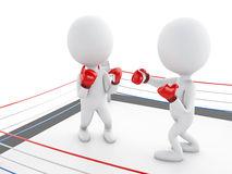 3d Two white people boxing in the ring. 3d renderer image. Two white people boxing in the ring. Sport concept.  white background Royalty Free Stock Image