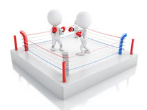 3d Two white people boxing in the ring. 3d renderer image. Two white people boxing in the ring. Sport concept.  white background Royalty Free Stock Photo