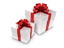 3d Two white and red gift boxes Stock Photo