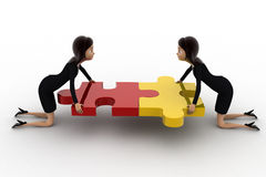 3d two women connect two puzzle pieces concept Royalty Free Stock Photos