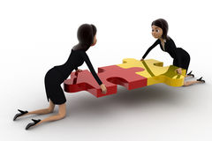 3d two women connect two puzzle pieces concept Royalty Free Stock Images