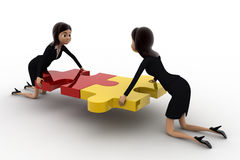 3d two women connect two puzzle pieces concept Stock Photos