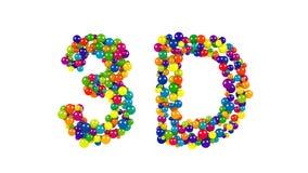 3D tworzący od kolorowych piłek nad bielem Fotografia Royalty Free