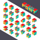 3d type font. Isometric 3d type font set. Vector illustration Royalty Free Stock Image