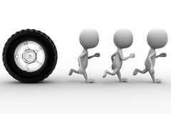 3d tyre and  group of people Stock Photo